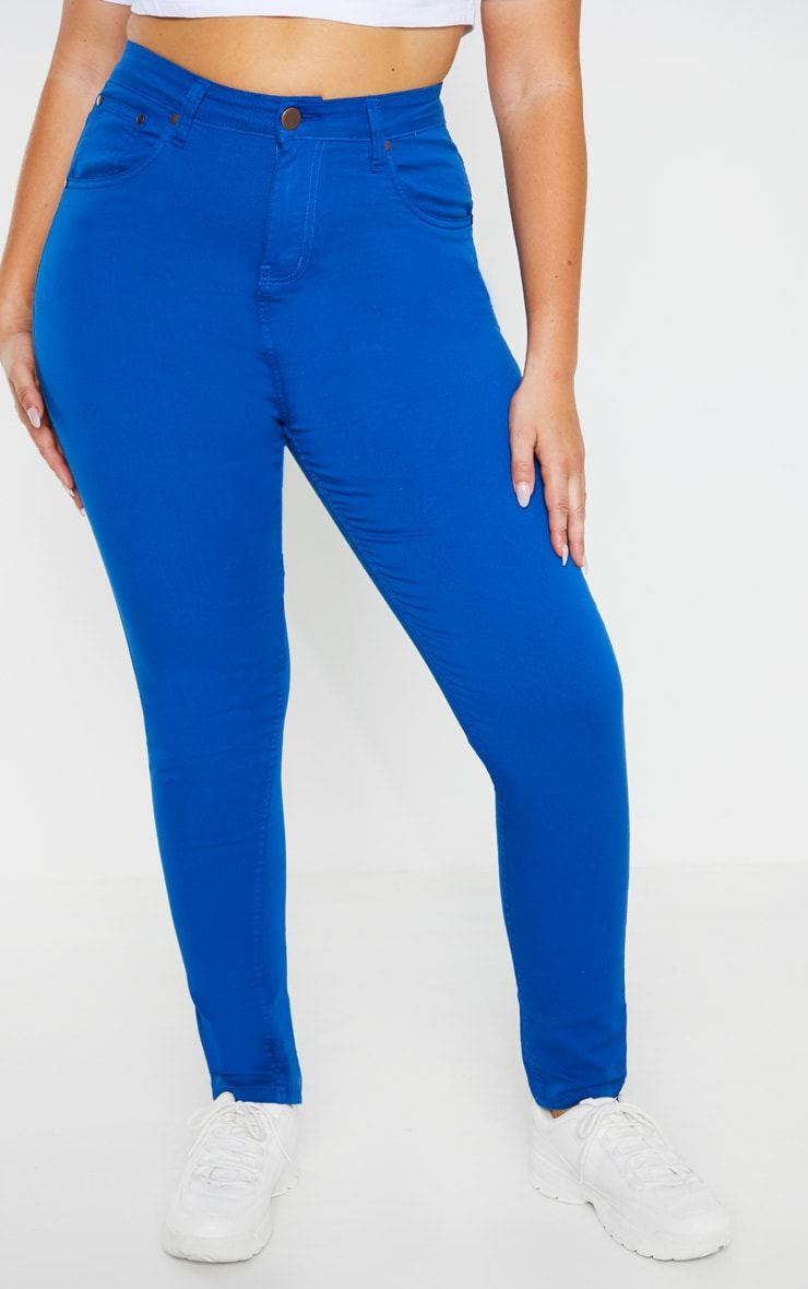 Plus Bright Blue High Waisted Skinny Jean 2