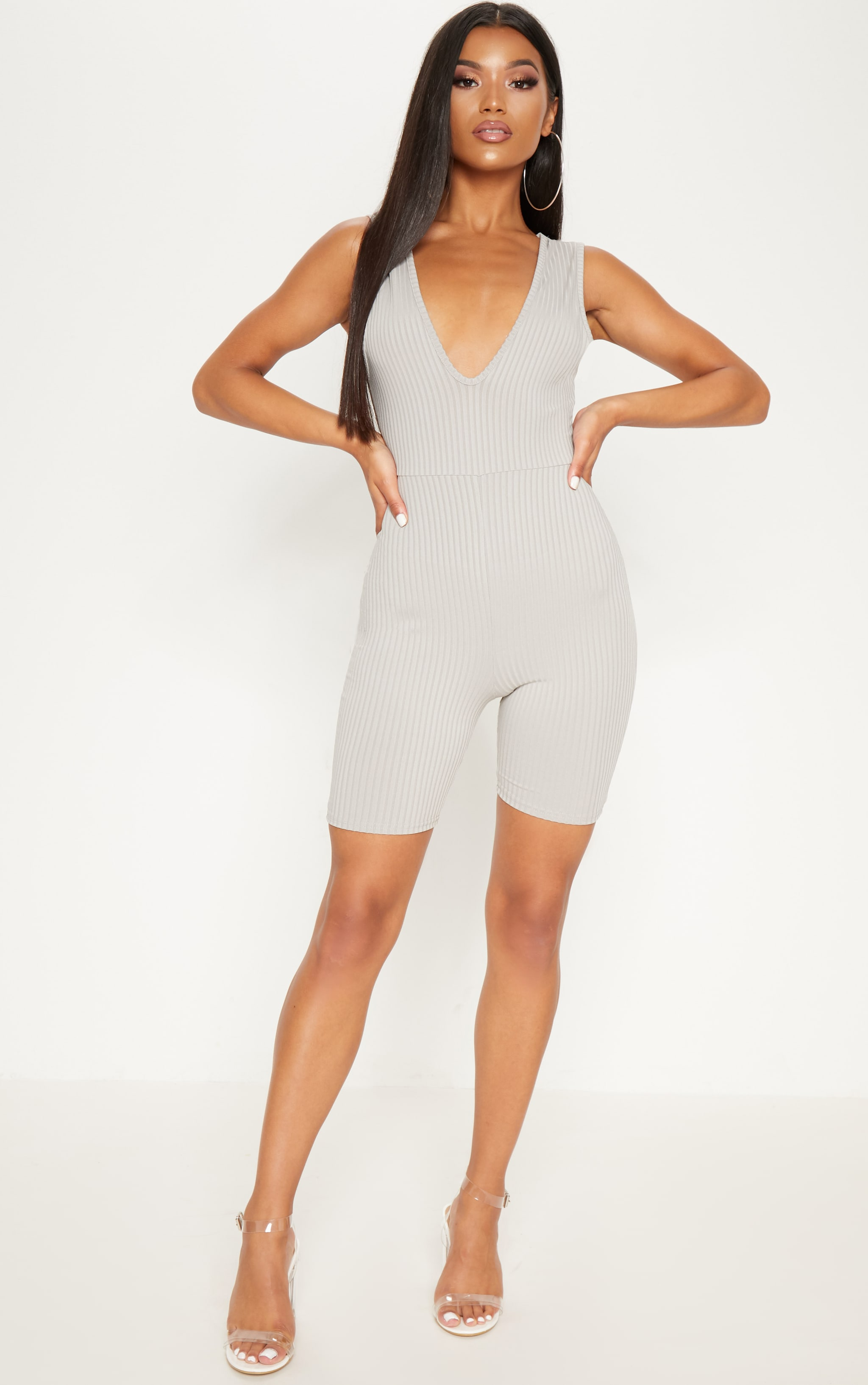 Grey Ribbed Plunge Sleeveless Unitard 4