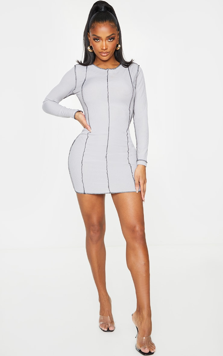 Shape Grey Rib Overlock Seam Detail Bodycon Dress 3
