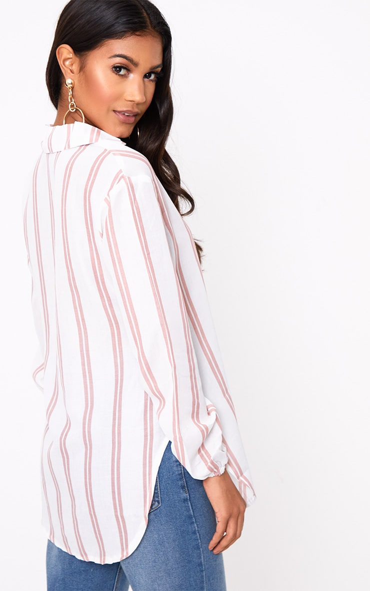 White Oversized Pink Stripe Shirt 2