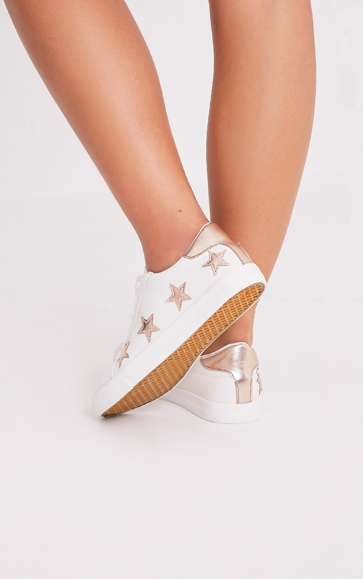 Ami Rose Gold Metallic Star Trainers 2
