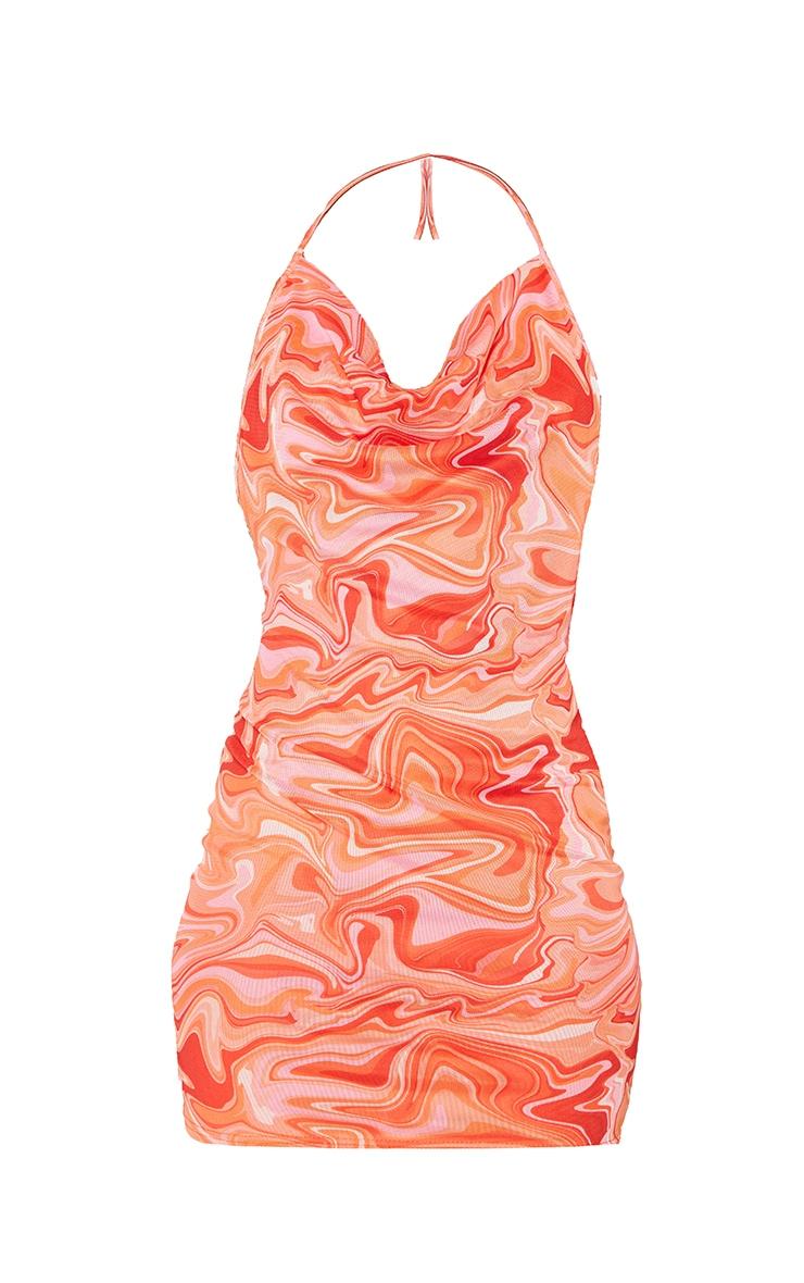 Pink Marble Print Mesh Halterneck Open Back Bodycon Dress 5
