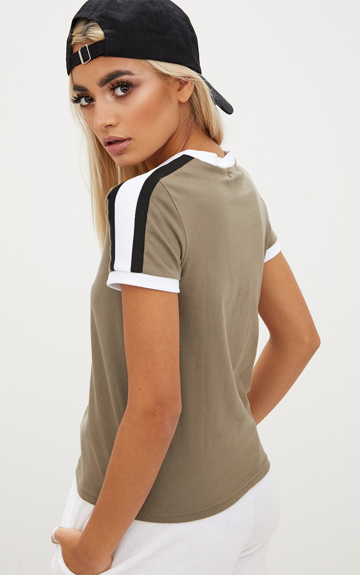 Khaki Triple Stripe Shoulder T Shirt  2