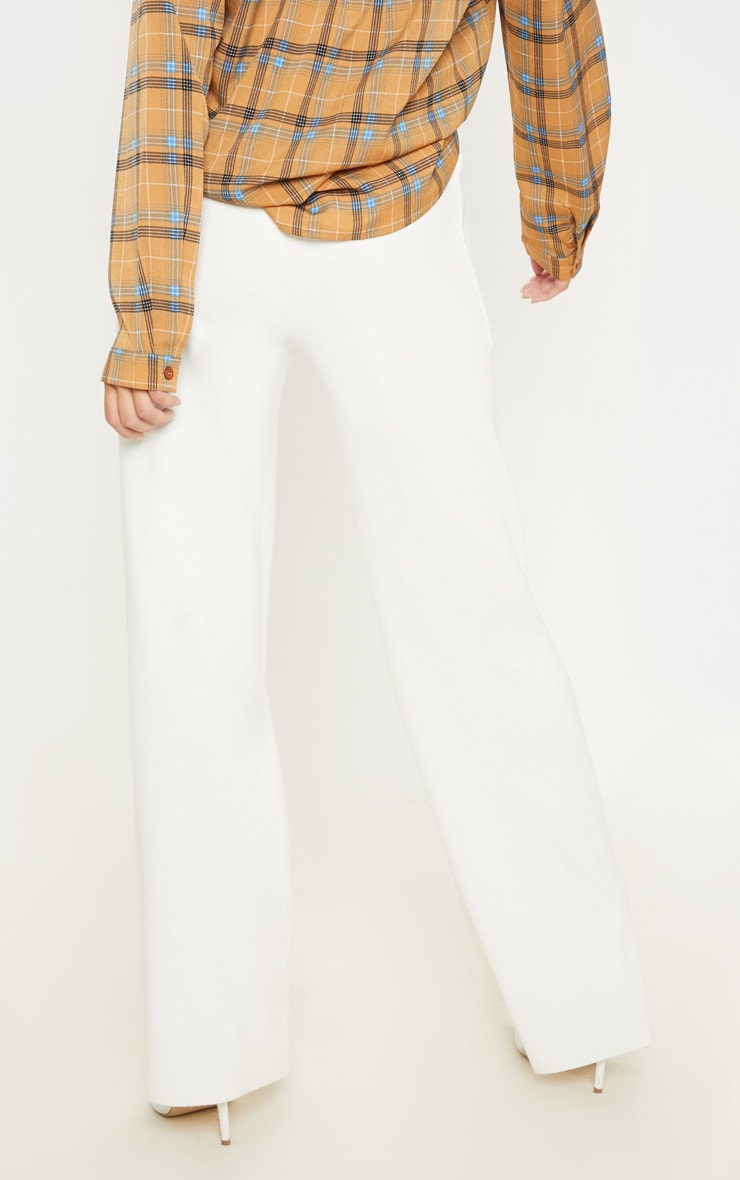 Cream Pocket Front Wide Leg Knitted Trousers 4