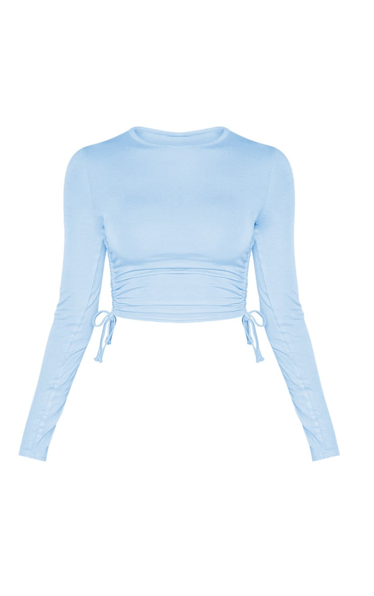 Baby Blue Jersey Ruched Side Long Sleeve Top 3