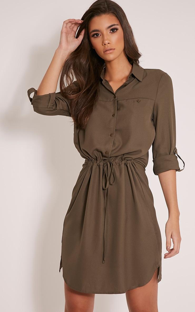 Madalie Khaki Tie Waist Shirt Dress 1