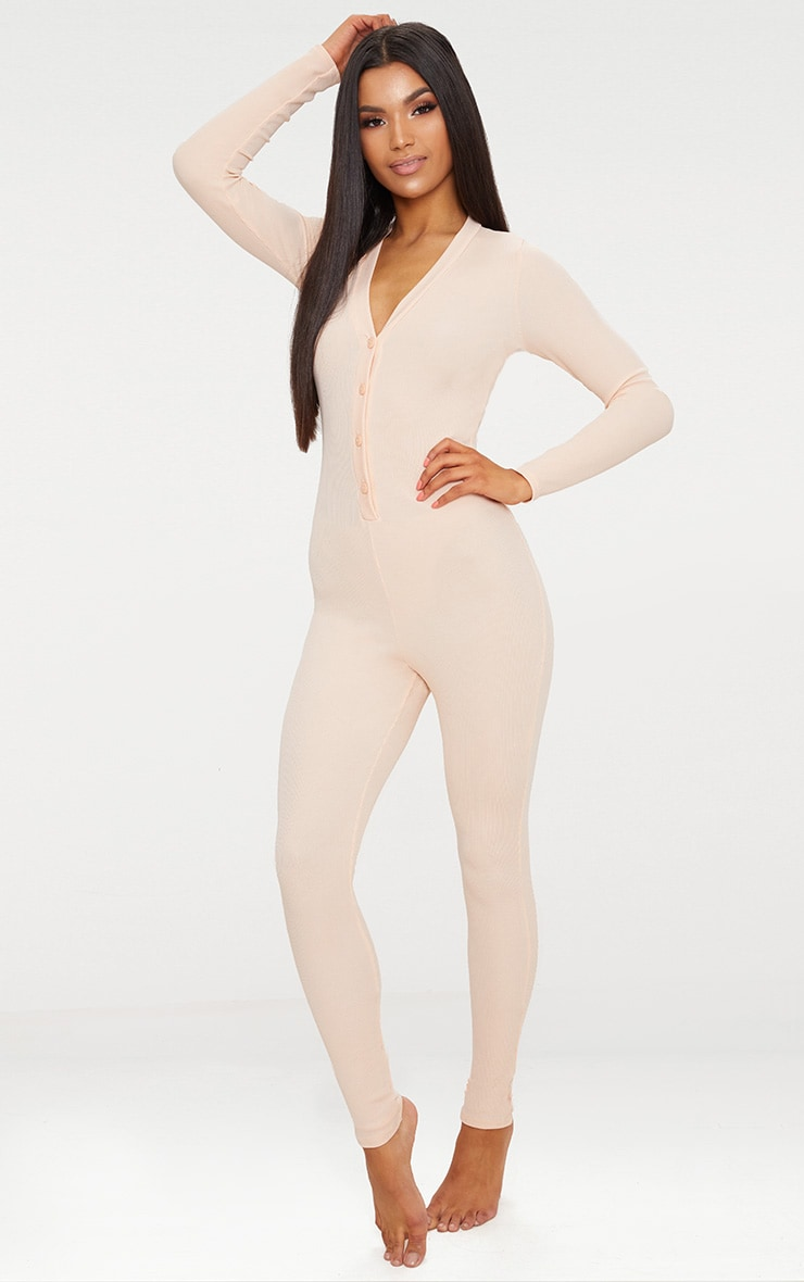 Pale Pink Ribbed Button Detail Onesie 1