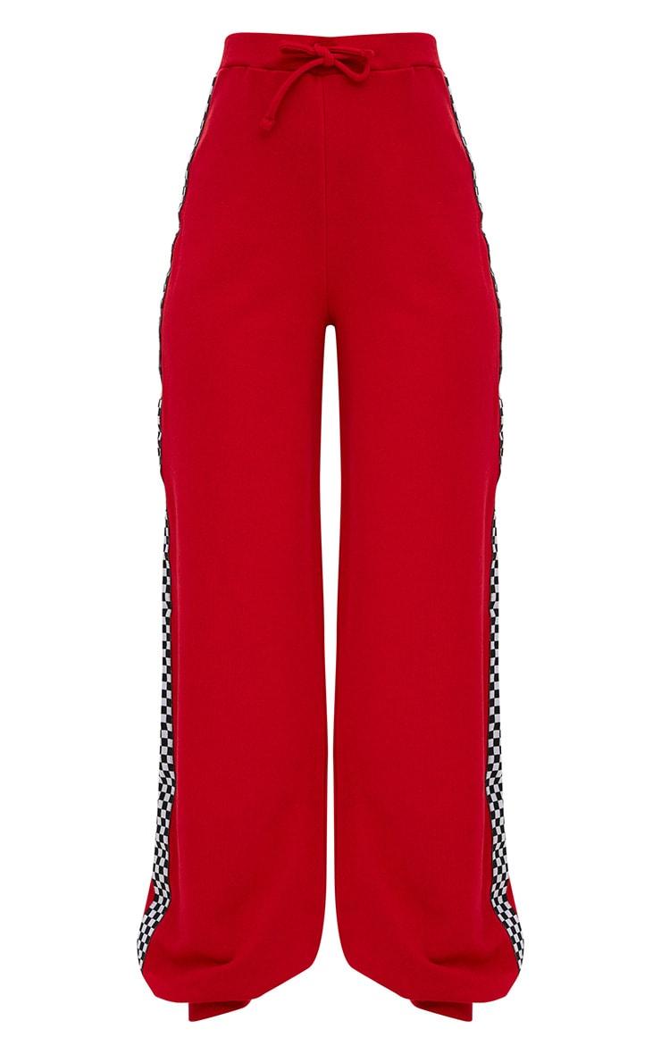 Red Checkerboard Stripe Joggers 3
