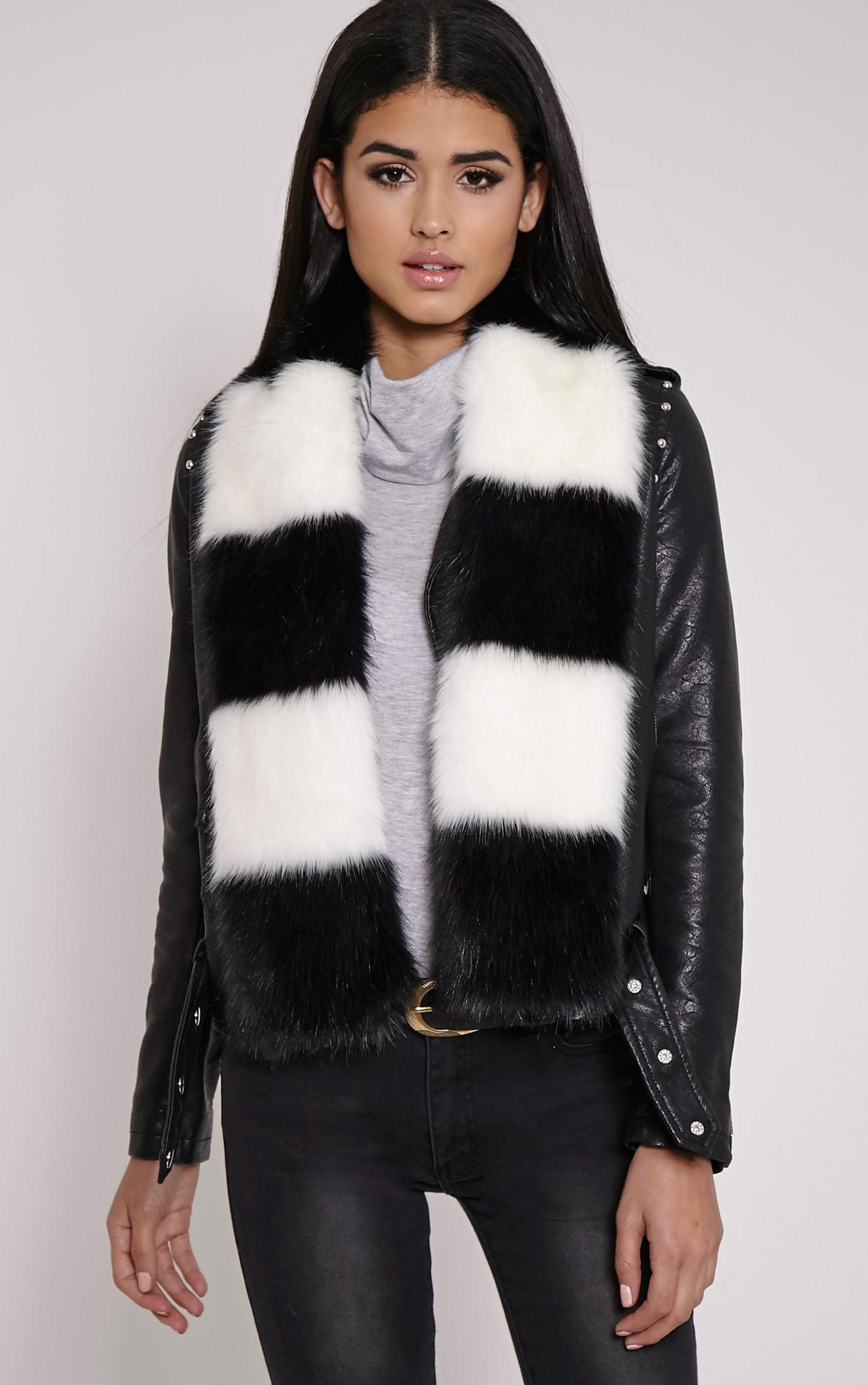 Toni Monochrome Striped Faux Fur Scarf 1