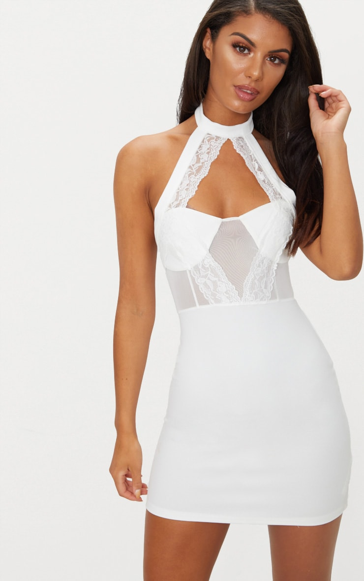 WHITE LACE TRIM HIGH NECK SHEER TOP BODYCON DRESS