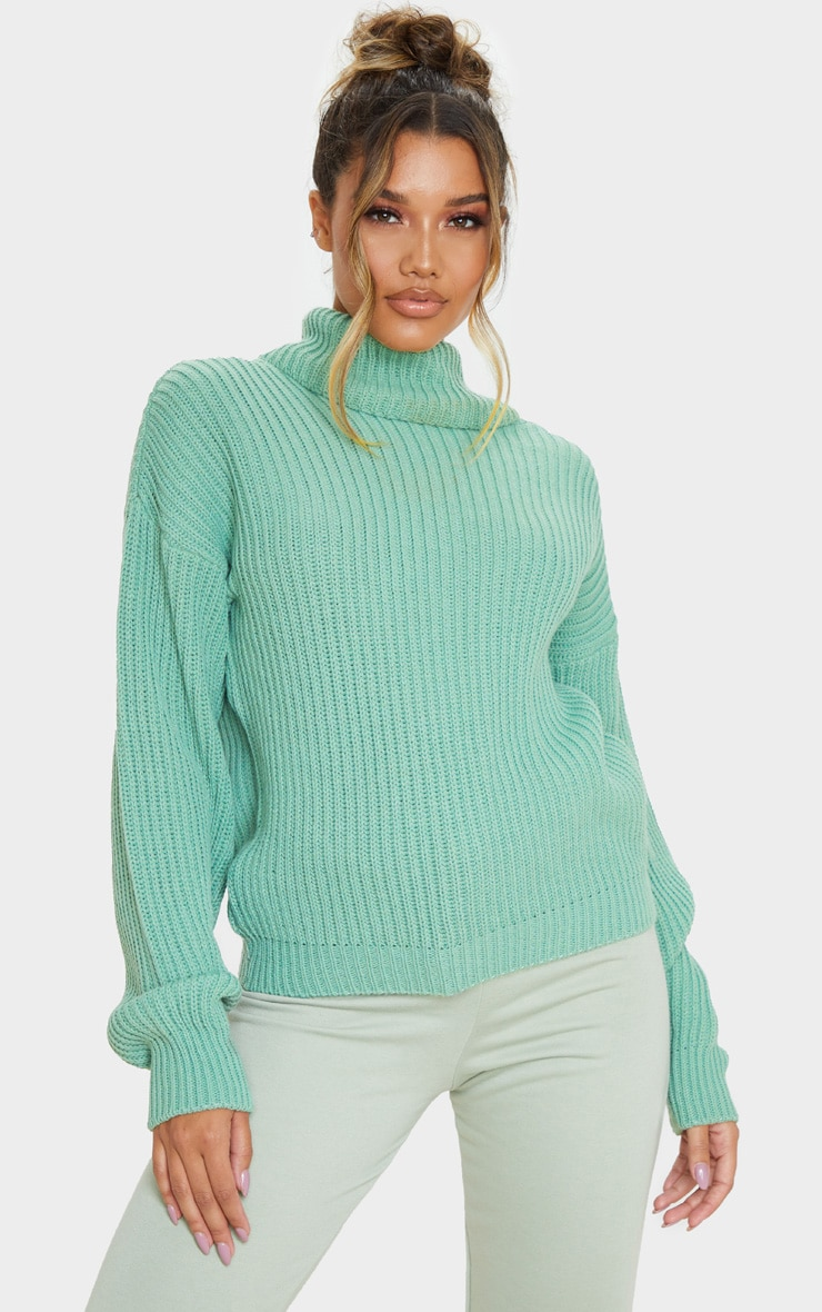 Sage Green Rib Oversized Roll Neck Jumper 1