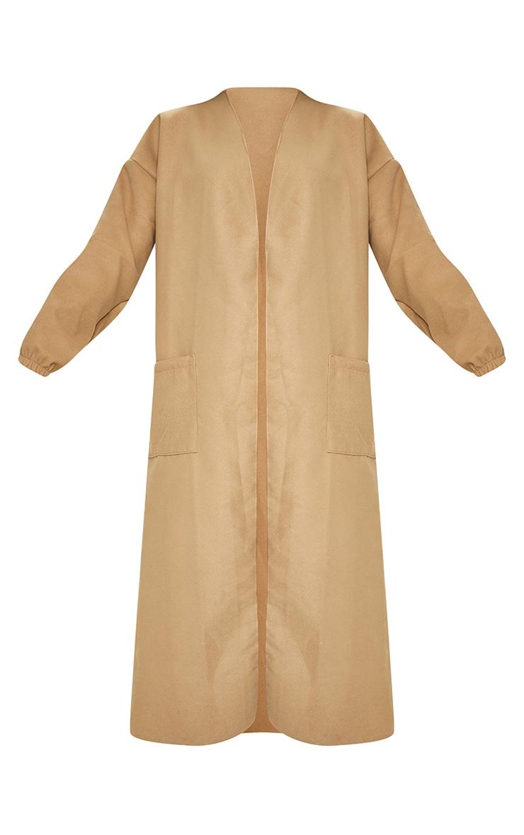 Camel Balloon Sleeve Maxi Pocket Front Coat 5