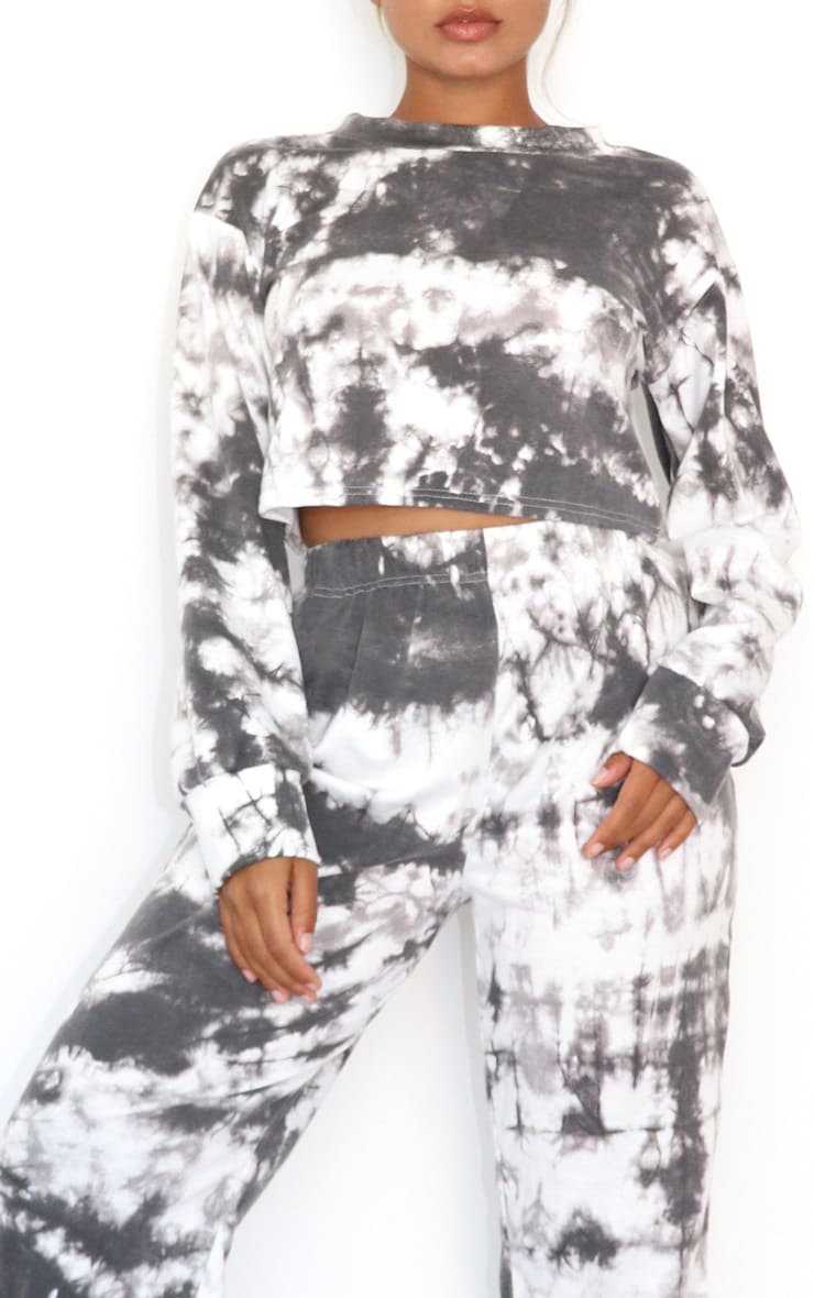 Petite Black Tie Dye Cropped Sweat and Jogger Set 4