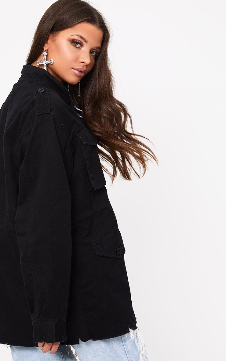 Aashia Black Distressed Utility Jacket 2