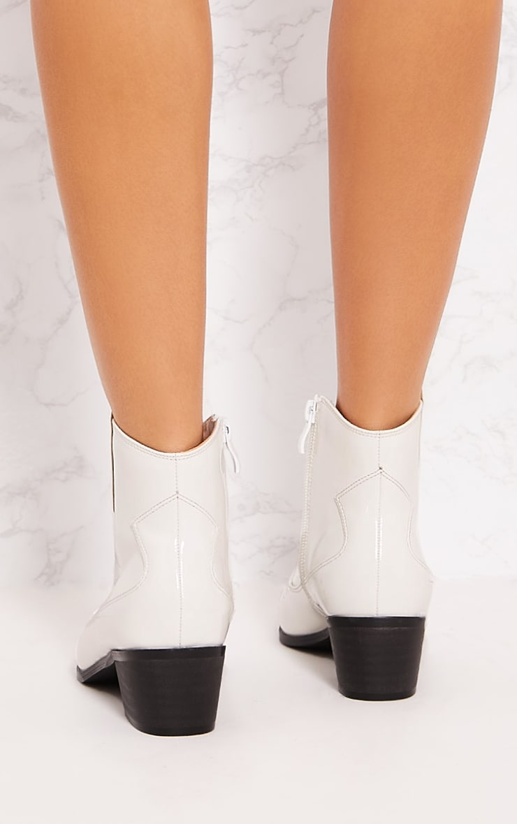 White Patent Western Ankle Boot 4