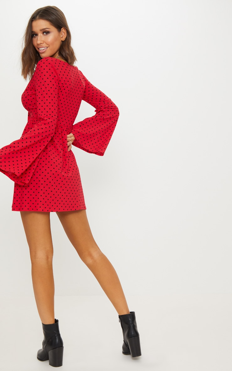 Red Polka Dot Fluted Sleeve Tie Detail Tea Dress 2