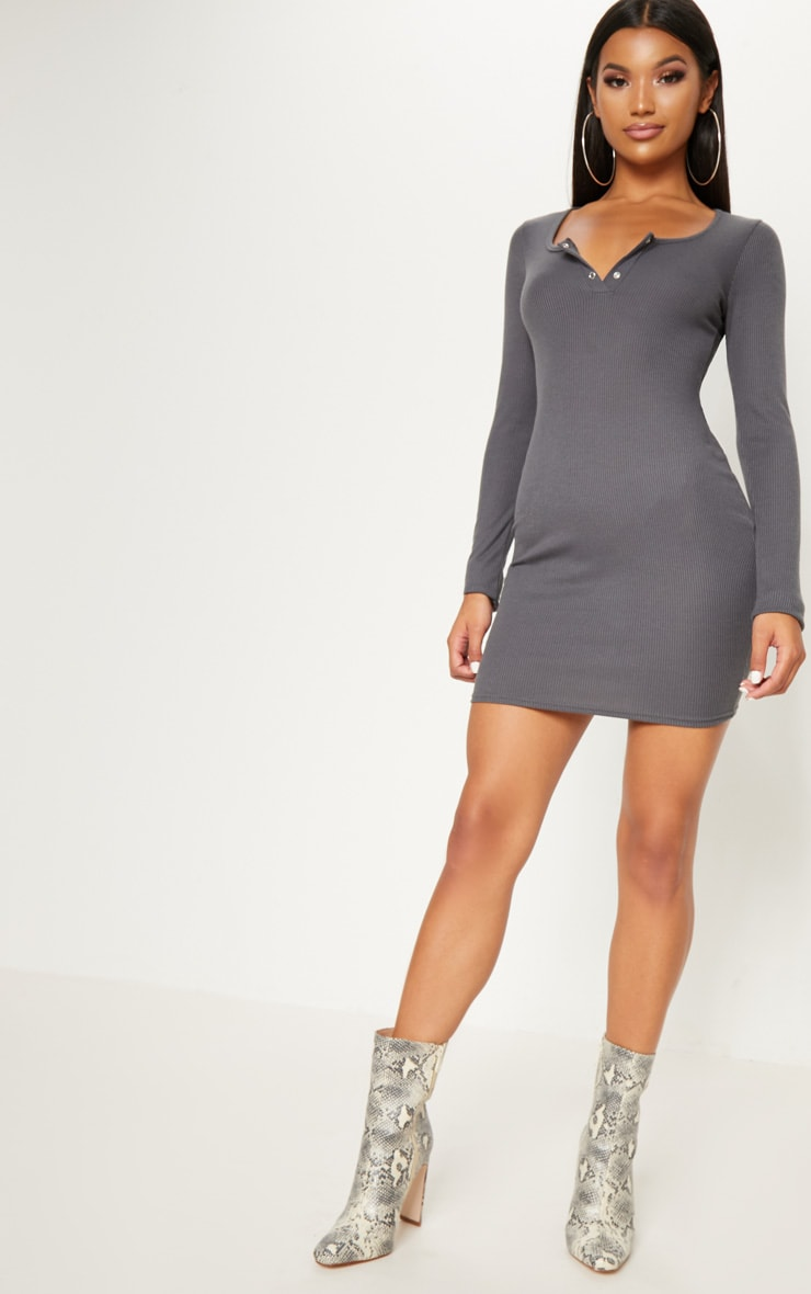 Charcoal Popper Detail Plunge Bodycon Dress 4