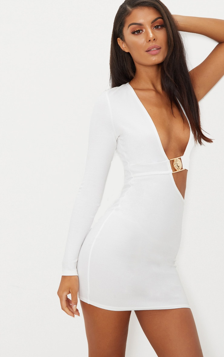 White One Sleeve Lion Buckle Cut Out Bodycon Dress 1