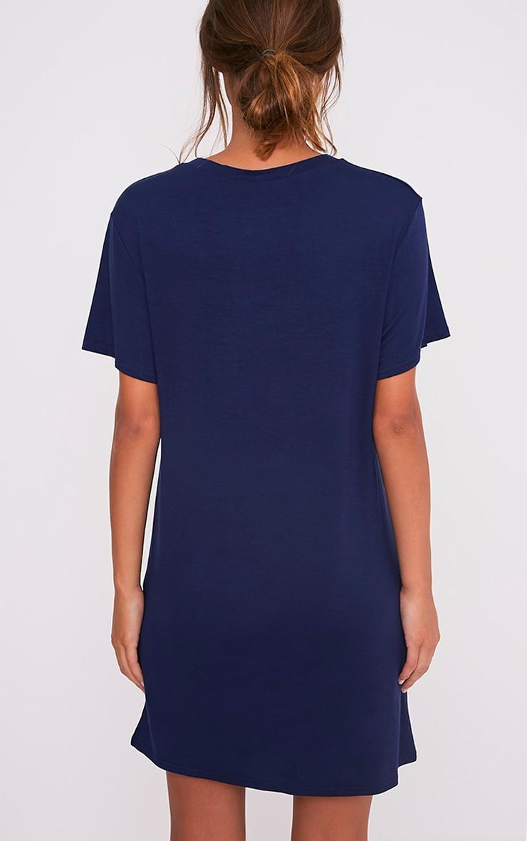 C'est La Vie Slogan Navy T-Shirt Dress 2
