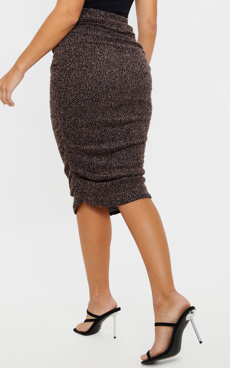 Camel Boucle Ruched Midi Skirt  4