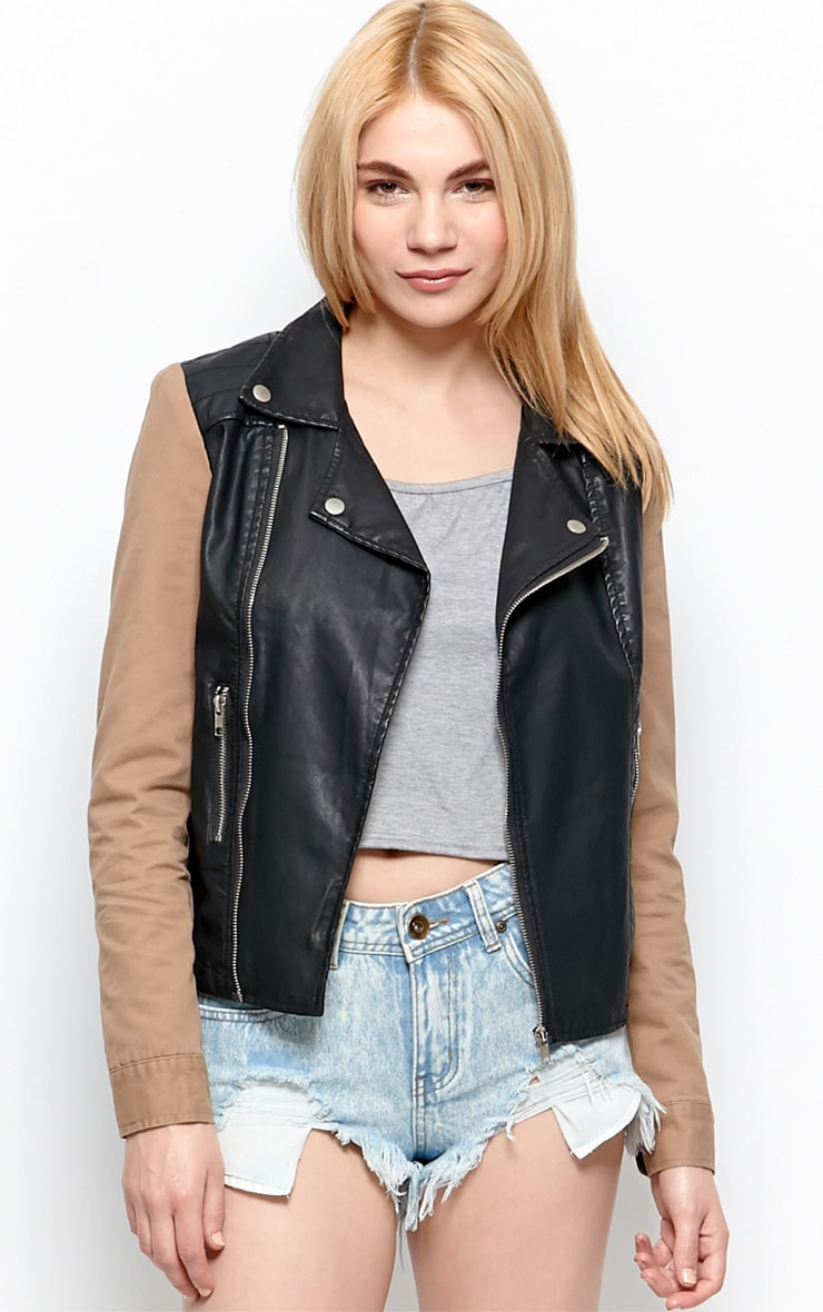 Joslyn Black Leather Jacket With Beige Sleeve Detail-S 1
