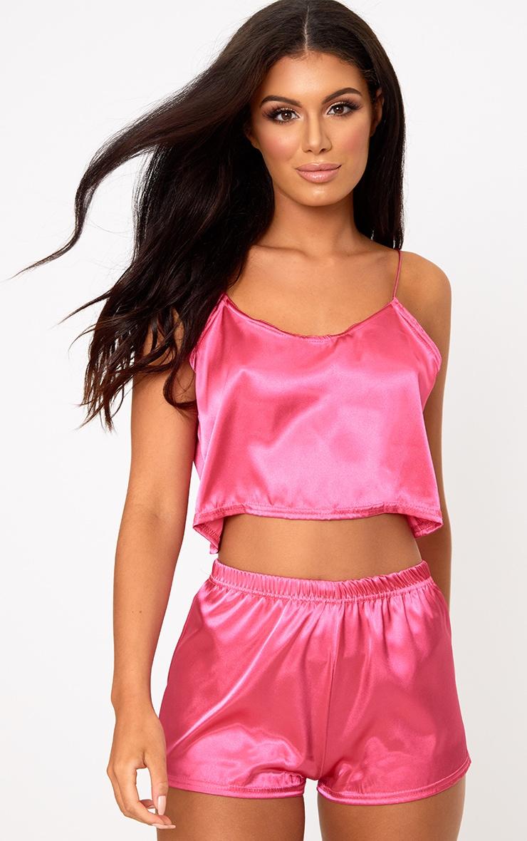8b2157615f Hot Pink Satin Pyjama Shorts Set image 1