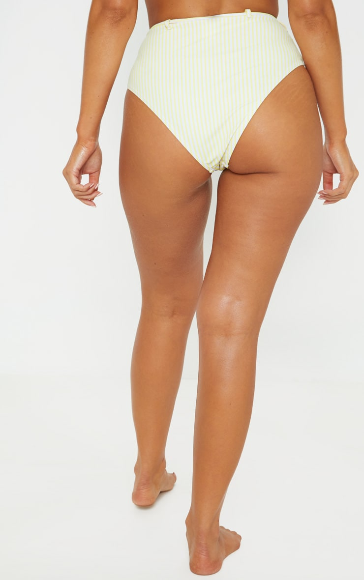 Yellow Stripe Belted Waist Bikini Bottom 4