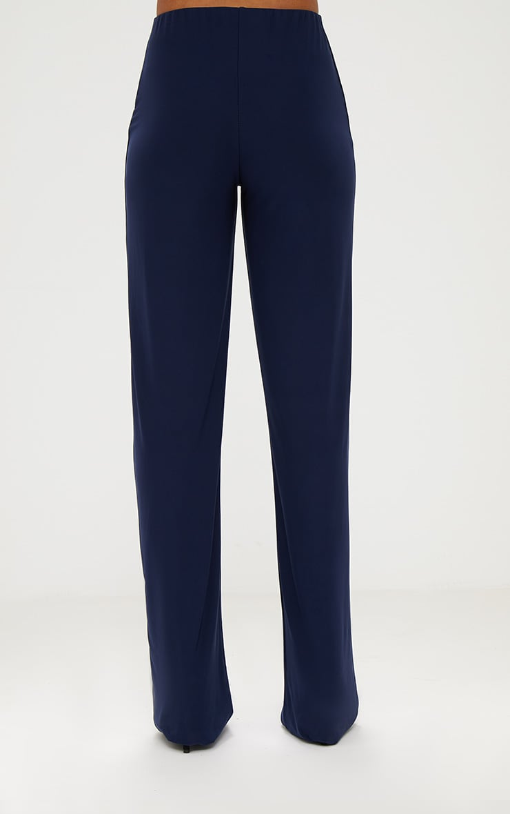 Navy Double Layer Slinky Wide Leg Trousers 4