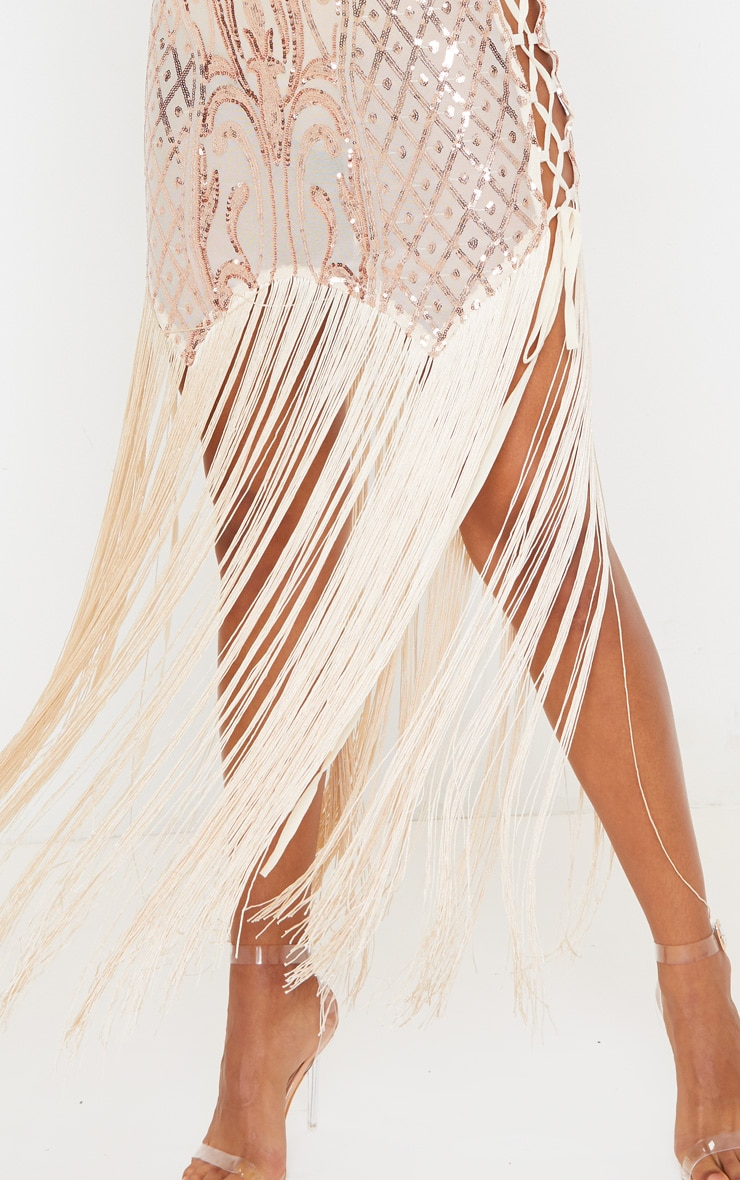 Gold Sequin Lace Up Side Tassel Midi Dress 5