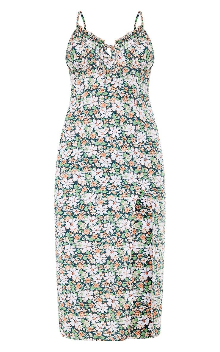 Multi Floral Print Strappy Split Detail Midi Dress 5