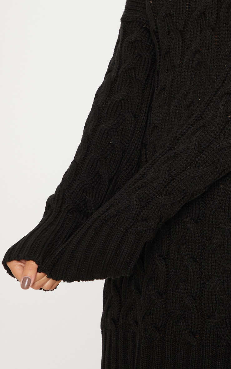 Black Cable Detail Knitted Jumper Dress  5