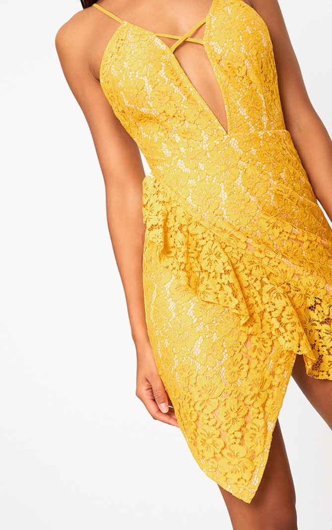 Yellow Lace Strappy Frill Detail Bodycon Dress 5
