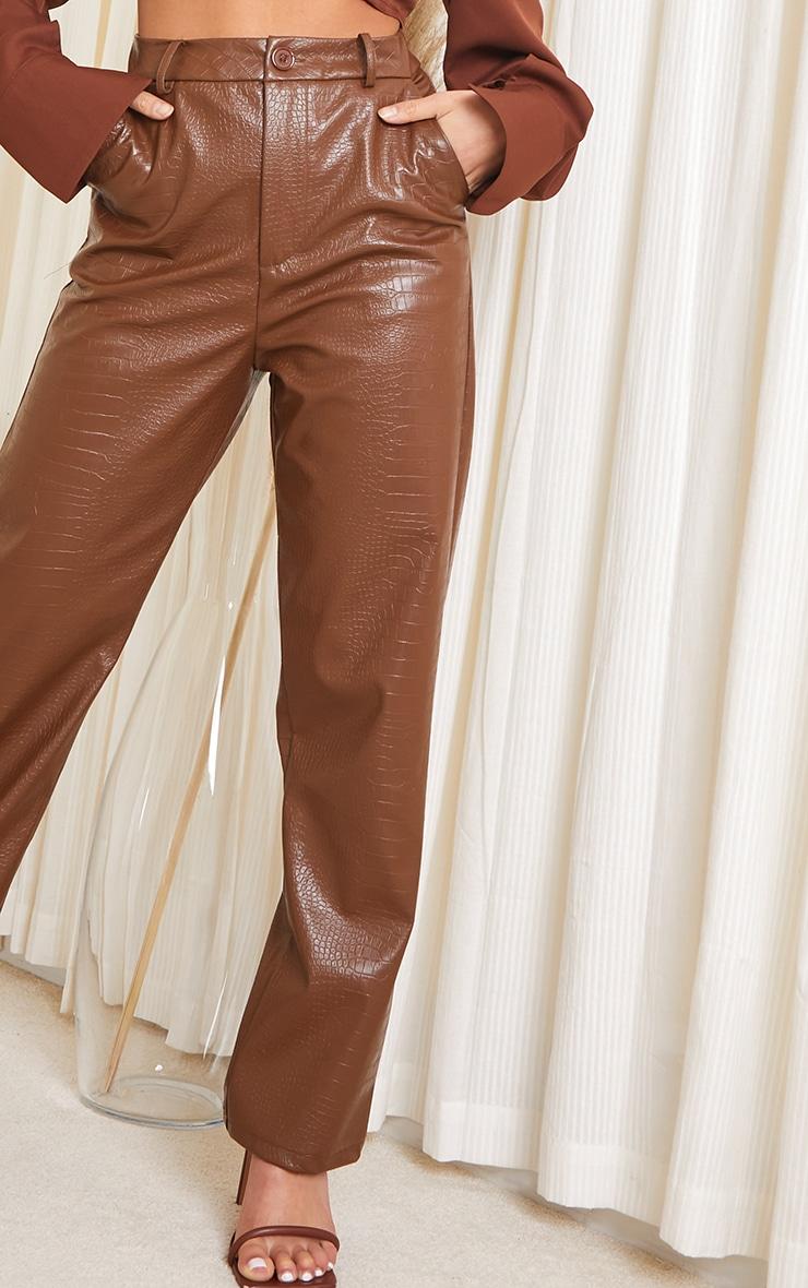Petite Chocolate Mock Croc PU Pants 4