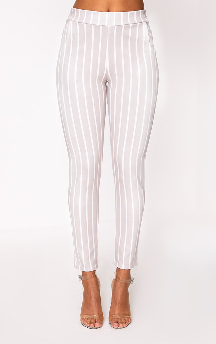 Stone Stripe Skinny Trousers 2