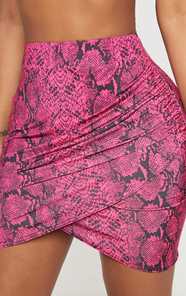 Shape Neon Pink Snake Print Ruched Side Slit Bodycon Skirt 6