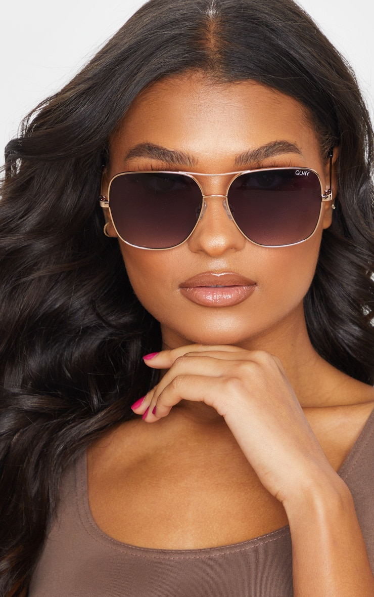 Quay X Chrissy Gold Frame Double Bar Stop And Stare Sunglasses