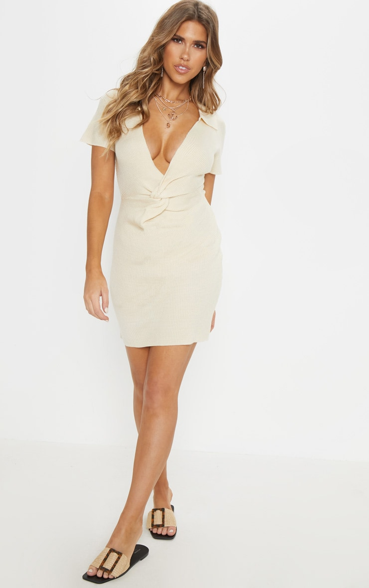 Stone Knitted Twist Front Dress  4