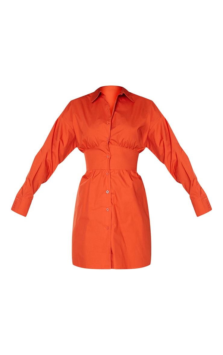 Rust Waist Binding Detail Long Sleeve Shirt Dress 5