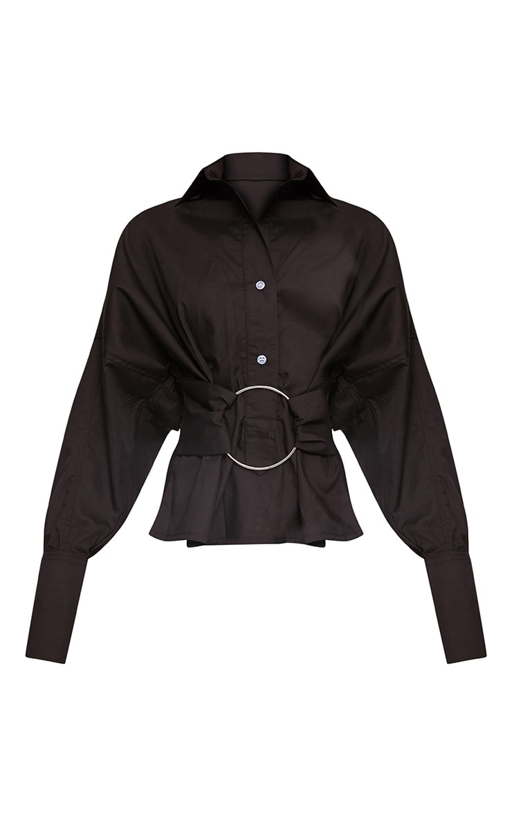 Black O Belt Detail Oversized Shirt 3