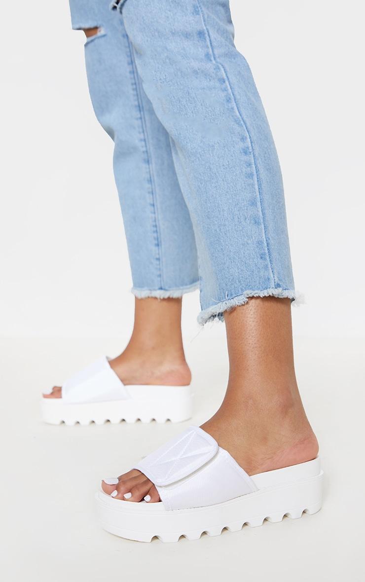 White Velcro Strap Flatform Slider 1