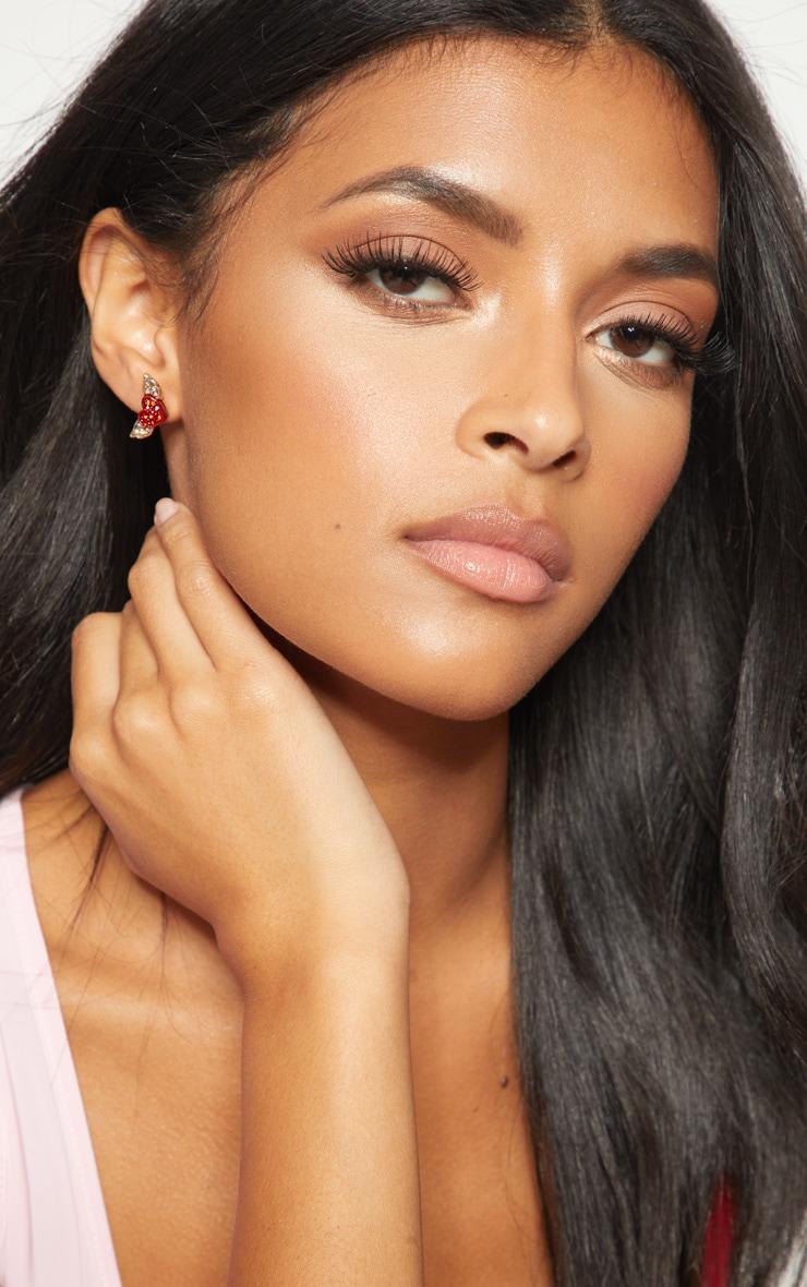 Red Diamante Heart Wing Stud Earrings 1