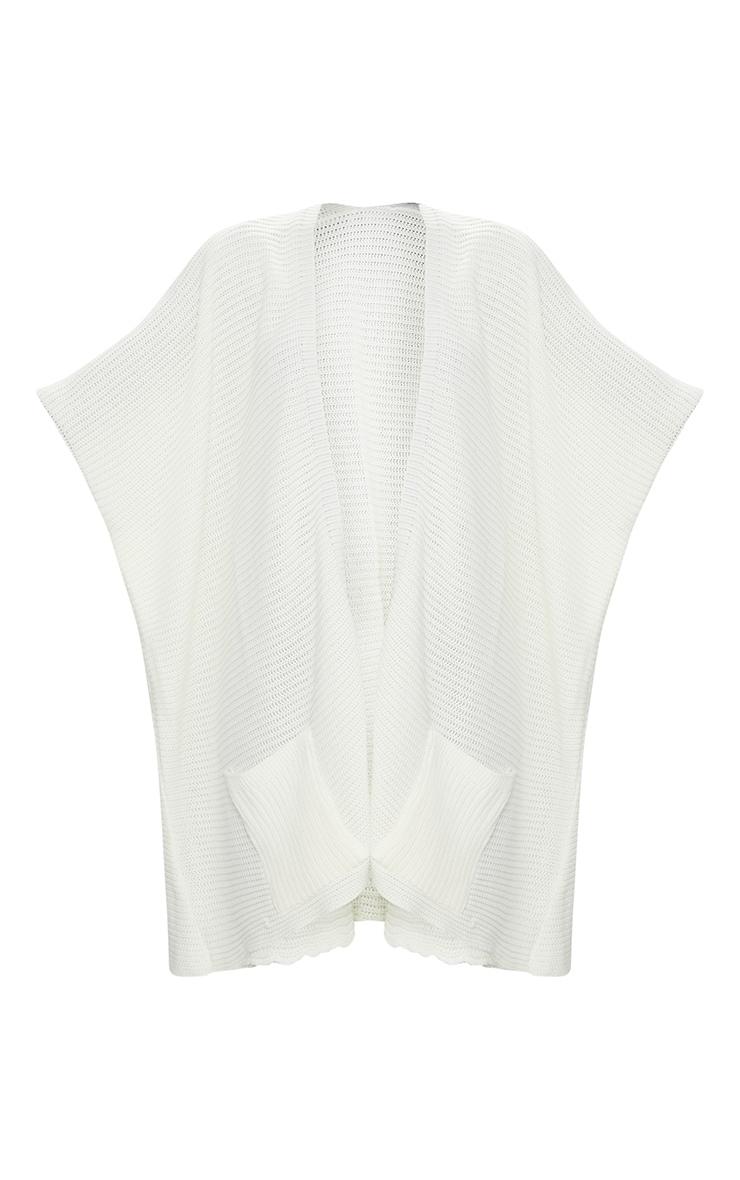 Cream Chunky Knit 3/4 Sleeve Wrap Cardigan 3