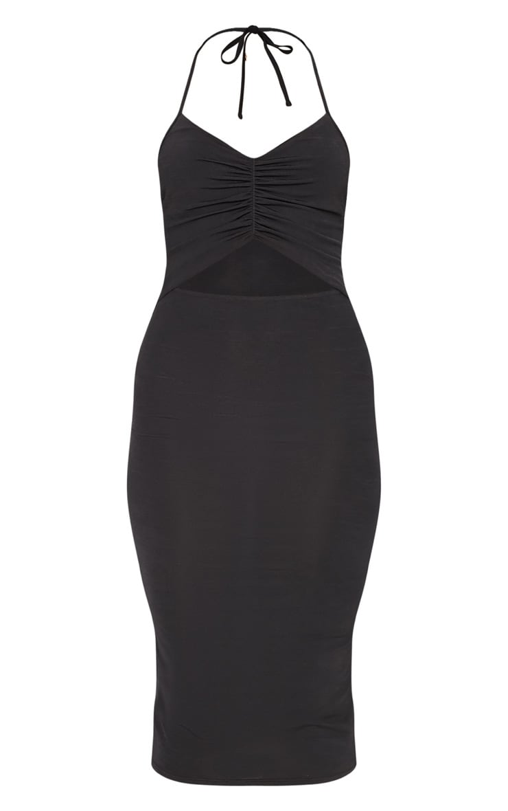 Black Slinky Halterneck Ruched Cut Out Midi Dress 3
