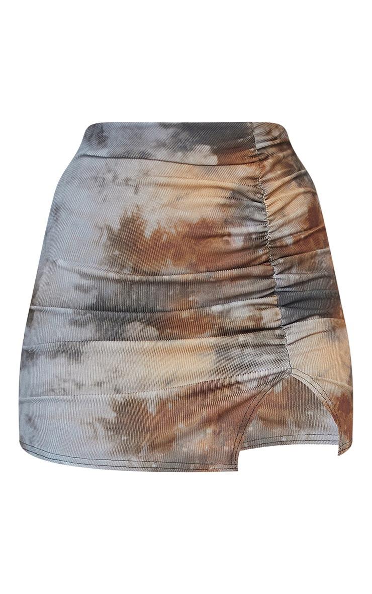 Tie Dye Rib Ruched Mini Skirt 5