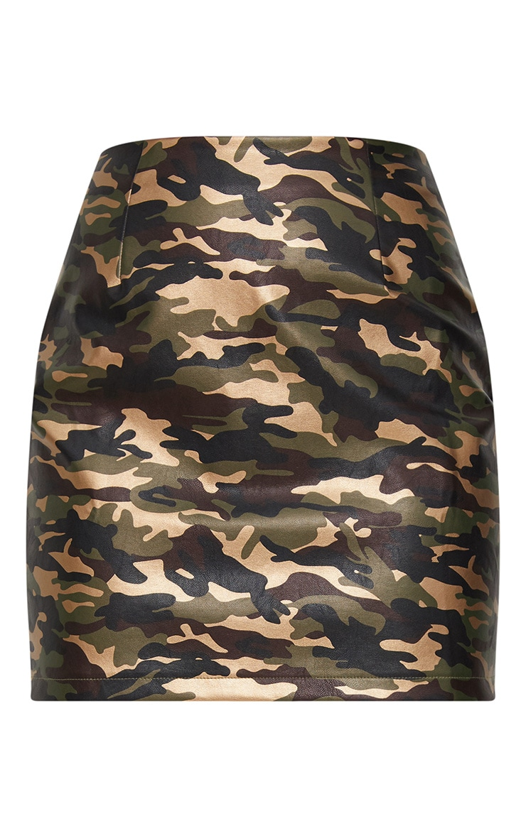 Khaki Faux Leather Camo Print Mini Skirt 3