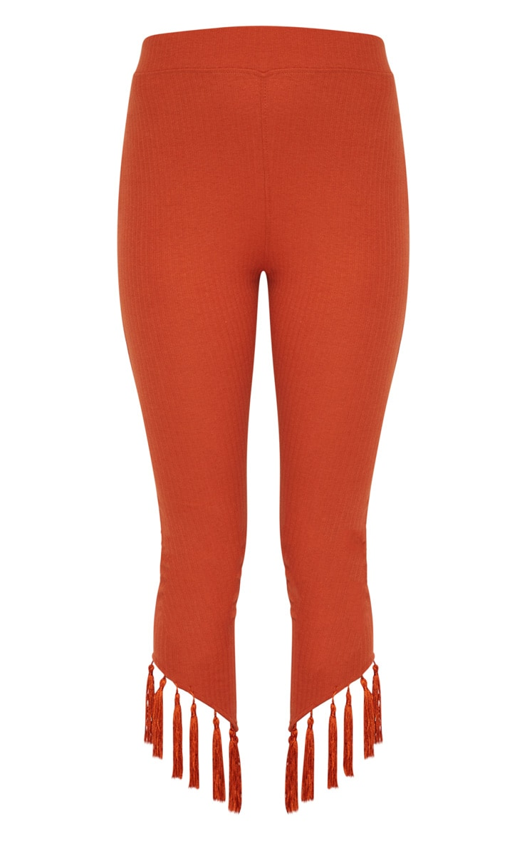 Rust Rib Tassel Trim Legging 3
