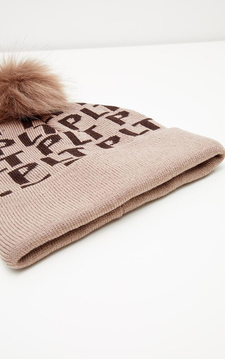 PRETTYLITTLETHING Brown Monogram Faux Fur Bobble Hat 3