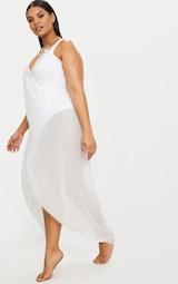 32fdbb51e3 Plus White Wrap Detail Chiffon Beach Cover Up Dress   PrettyLittleThing
