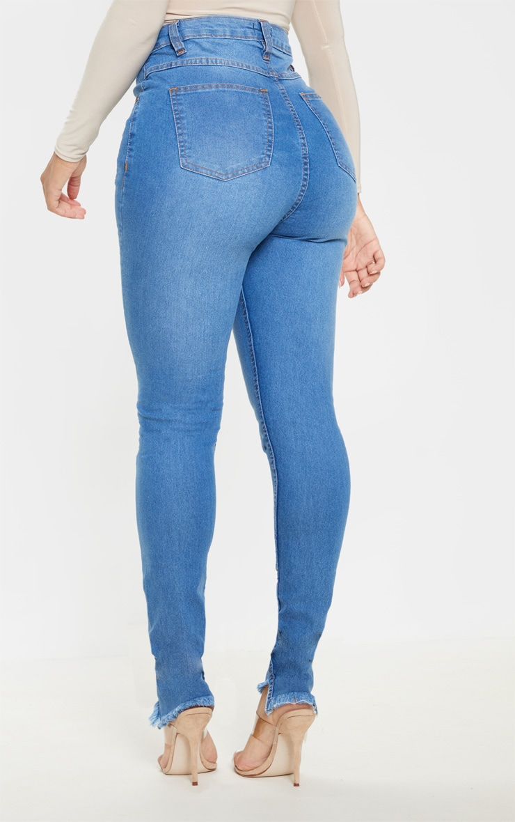 Shape Mid Wash Knee Rip High Waisted Skinny Jeans 4