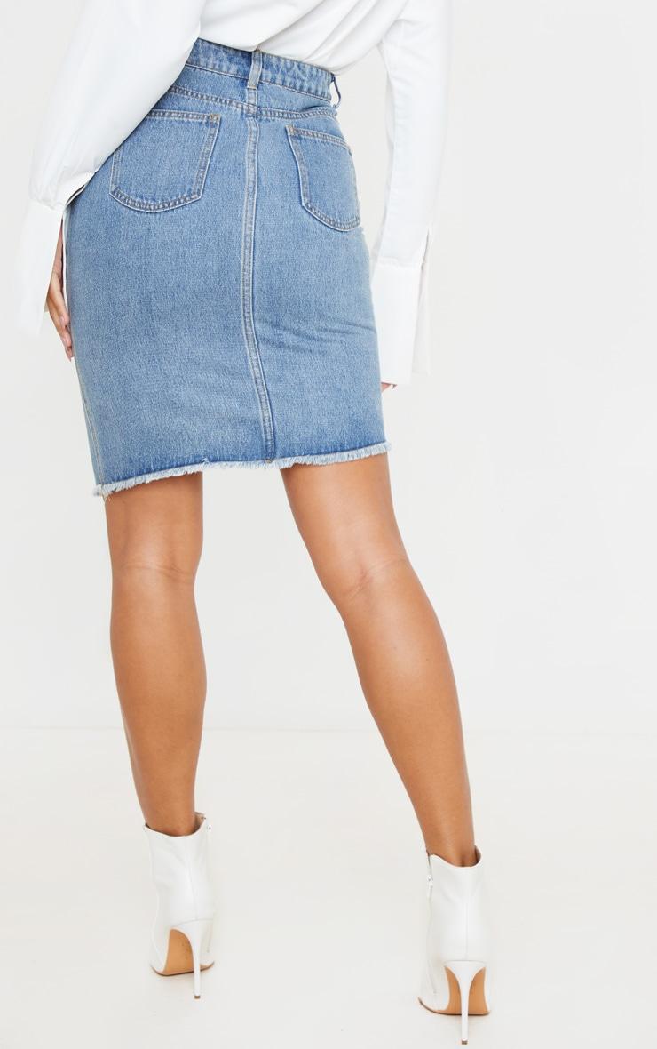 Mid Blue Wash Asymmetric Waist Midi Denim Skirt 3